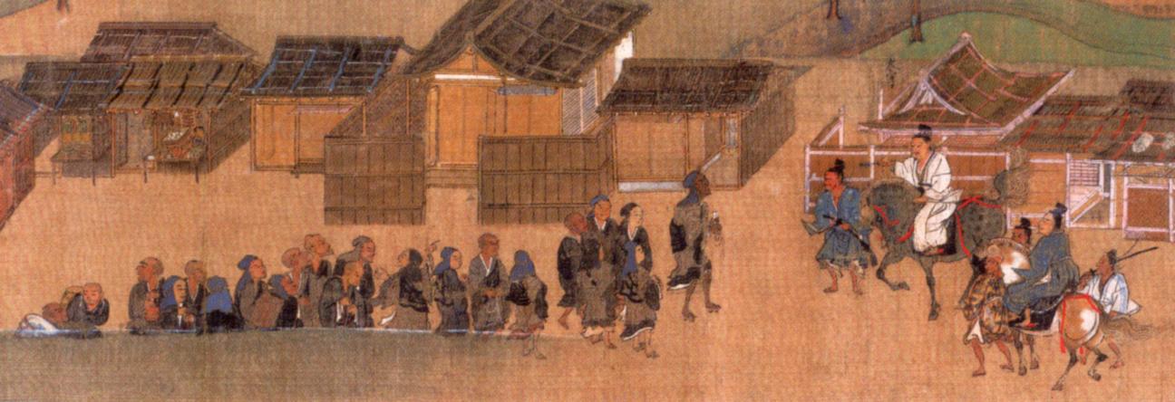 「一遍聖絵」第5巻第5段1 鎌倉に入ろうとして武士の制止に合う